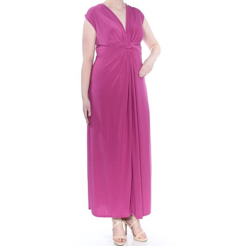 LOVE SQUARED Womens Purple Jersey Knotted Front Sleeveless Full-Length Evening Dress Plus Size: 3X