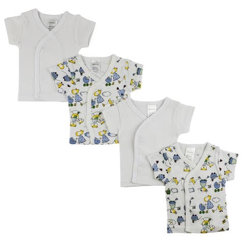 """Set of 4 White and Blue Side Snap Short Sleeve Shirt, 8"""""""