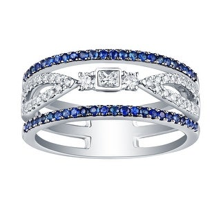 0.58Ct G-H/SI1 Natural Princess & Round Diamond With Blue Diamond Wedding Ring - White G-H