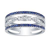 Prism Jewel 0.58Ct SI2 Blue Sapphire & G-H/I1 Natural Diamond Wedding Ring