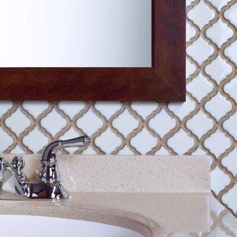 "SomerTile Hudson Tangier Silk White 12.38"" x 12.5"" Porcelain Mosaic Tile"
