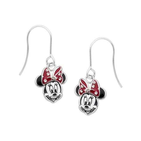 Disney's Minnie Mouse Drop Earrings in Sterling Silver-Plated Brass