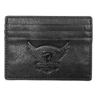 """Harley-Davidson Men's Eagle Embossed Leather Front Pocket Wallet EE9076L-BLK - 4.5"""" x 3.5"""""""