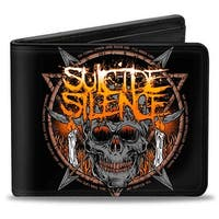 Suicide Silence Skull Candles Icon Black Oranges Grays White Bi Fold Wallet - One Size Fits most