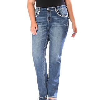 Grace in LA Denim Jeans Womens Bootcut Plus Dark Wash PS61158