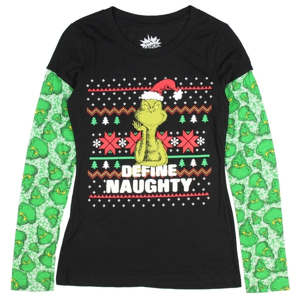 805b6eee6 Dr. Seuss Holiday Juniors' Grinch Define Naughty Long Sleeve Christmas  T-