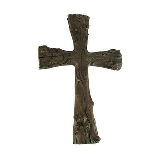 Faux Natural Rustic Brown Wood Branch Wall Cross - 14 X 9.5 X 1.25 inches