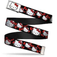 Hello Kitty Face Fcg White  Chrome Hello Kitty Multi Face W Bows Black Web Belt