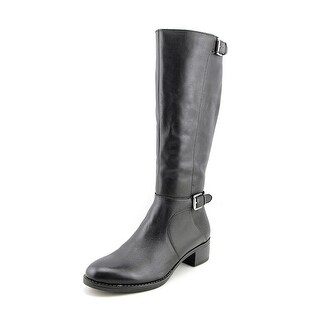 Franco Sarto Chilled Women Round Toe Leather Black Knee High Boot