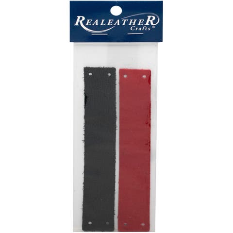 "Realeather Crafts Filigree Bracelet Leather Blanks 1""-Black/Red"
