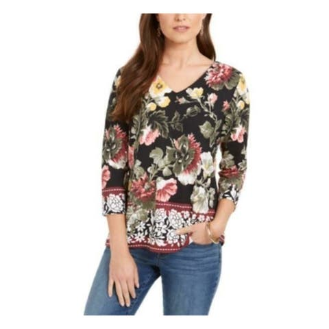 CHARTER CLUB Womens Black Floral 3/4 Sleeve V Neck Top Size XL