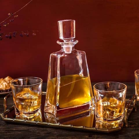 JoyJolt Luna Crystal 5 Piece Whiskey Decanter Set, Scotch Decanter with 4 Old Fashioned Glasses