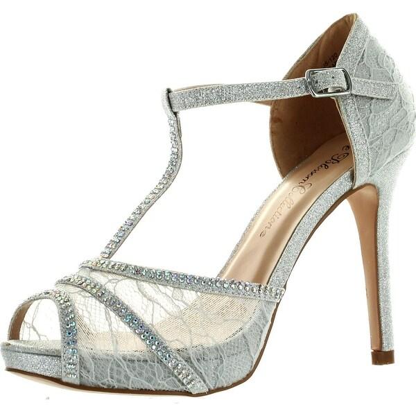 De Blossom Womens Barbara-21 Fashion T-Strap Lace Dress Party Pumps Shoes