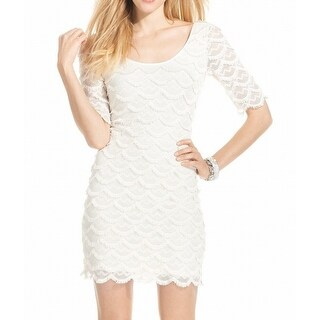 Guess NEW White Scalloped Lace Women's Size 0 Stretch Bodycon Dress