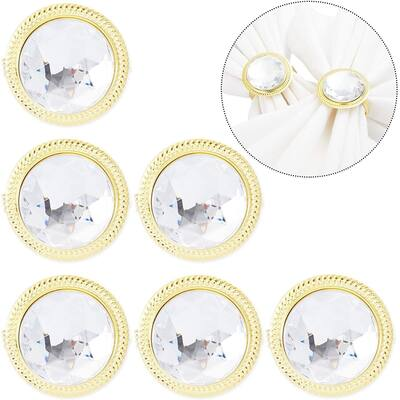 6pcs Diamond Gold Napkin Rings Holder for Dinner Table Decor Wedding Party Event