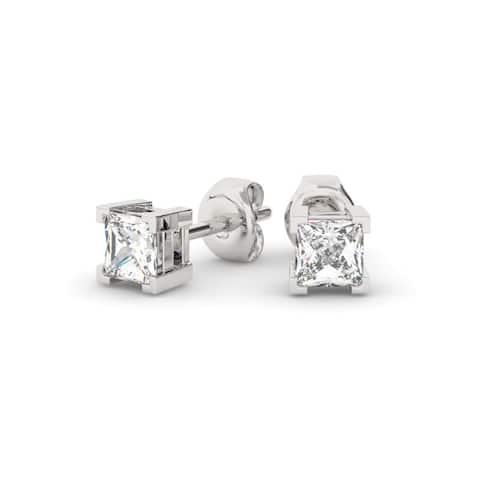 763446907 1.25 CT Princess Cut 4-Prong Basket Diamond Stud Earrings In 14KT Gold