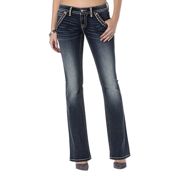 Miss Me Denim Jeans Womens Crystal Lined Faux Flap Med Dark JP7309B