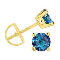 Prism Jewel Blue Color Diamond Prong Set Screw Back Stud Earring