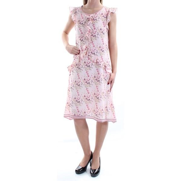 Shop MAX STUDIO $138 Womens New 1319 Pink Floral Ruffled Cap Sleeve ...