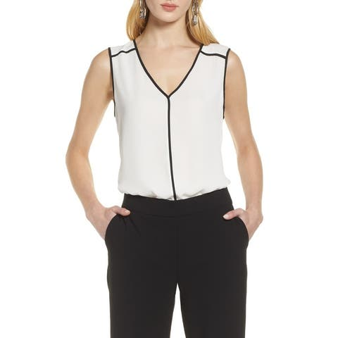 Halogen Womens Blouse Black White Ivory Size XL Tank V-Neck Crepe