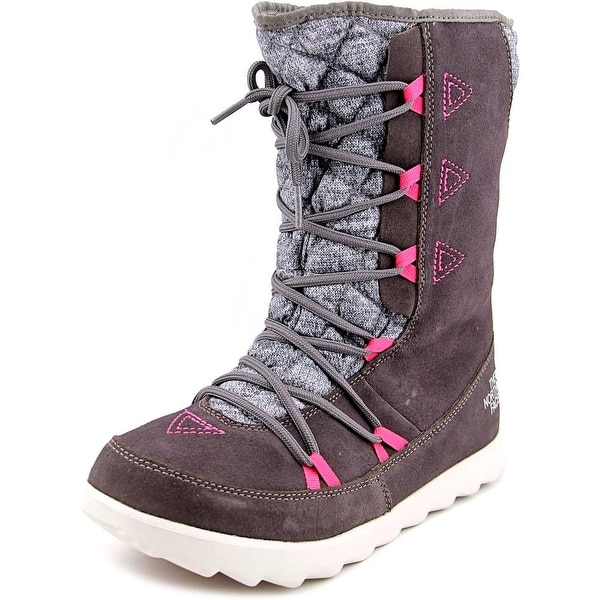 The North Face Thermoball Bootie Women Round Toe Suede Gray Winter Boot