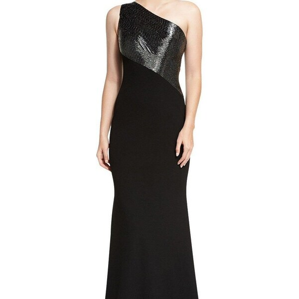 Carmen Marc Valvo One Shoulder Beaded Crepe Evening Gown Dress - 10 ...