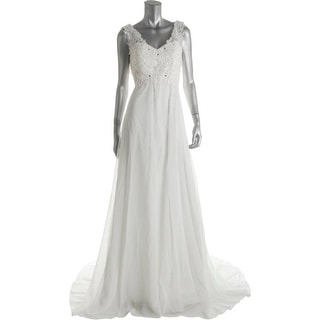 VIVIANSBRIDAL Womens Chiffon Lace Wedding Dress - 12