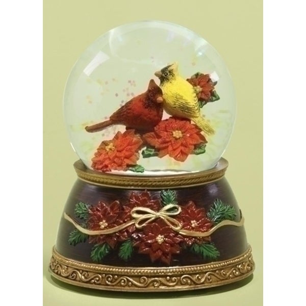 """5.38"""" Musical Red and Yellow Cardinal Bird on Poinsettias Christmas Glitterdome"""