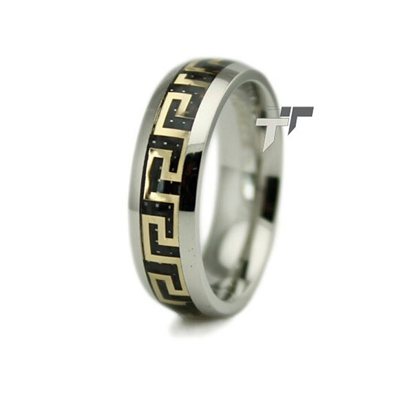 Stainless Steel Ring w/ Greek Design Inlay