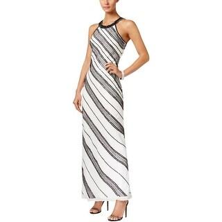 Adrianna Papell Womens Evening Dress Beaded Contrast Trim - 10