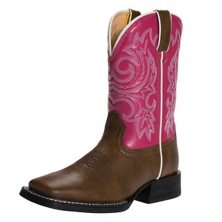 "Durango Western Boot Girls 8"" Lil Partners Square Toe Brown Pink"