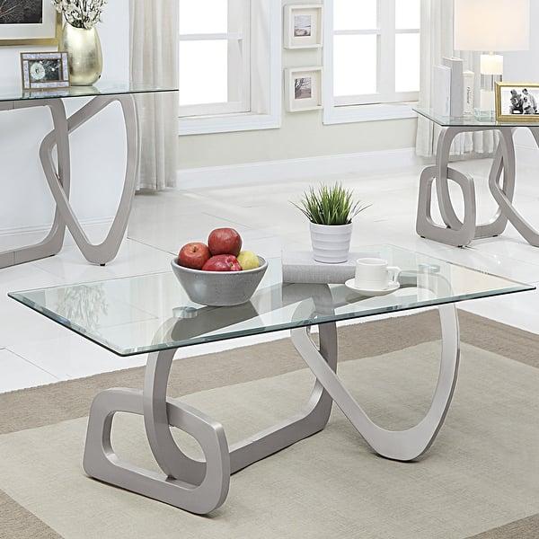 Furniture Of America Varina Modern Glass Top Metal Coffee Table Overstock 32010980