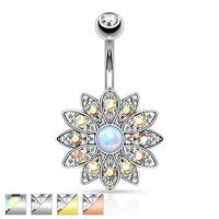 Paved Crystal Flower with Synthetic Opal Center Navel Ring