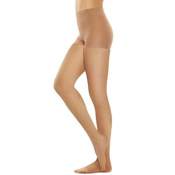 Hanes Perfect Nudes™ Sheer Micro Net Girl Short Tummy Control Hosiery - Size - 1/2X - Color - Caramel/Nude 4