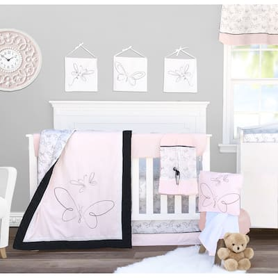 Pam Grace Creations 13 Piece Pink Butterfly Crib Baby Bedding Set