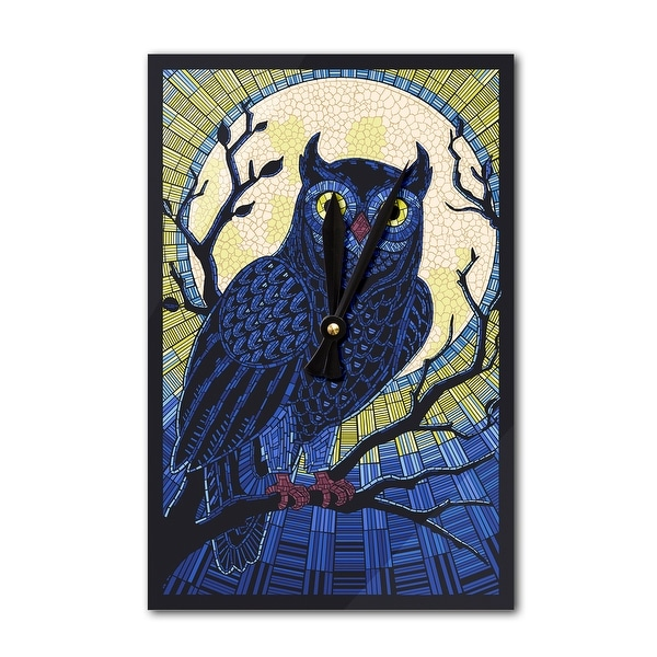 Owl - Paper Mosaic - LP Artwork (Acrylic Wall Clock) - acrylic wall clock