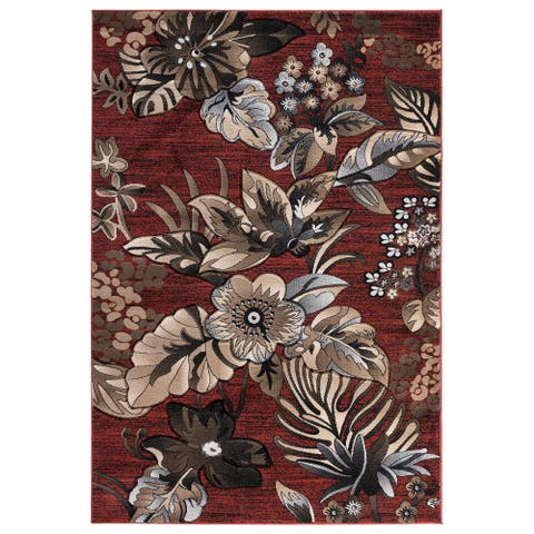 Glamour Collection Red/Brown Area Rug