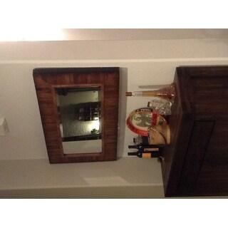 Strick & Bolton Ives Rustic Wood Plank Framed Mirror - Walnut - N/A 