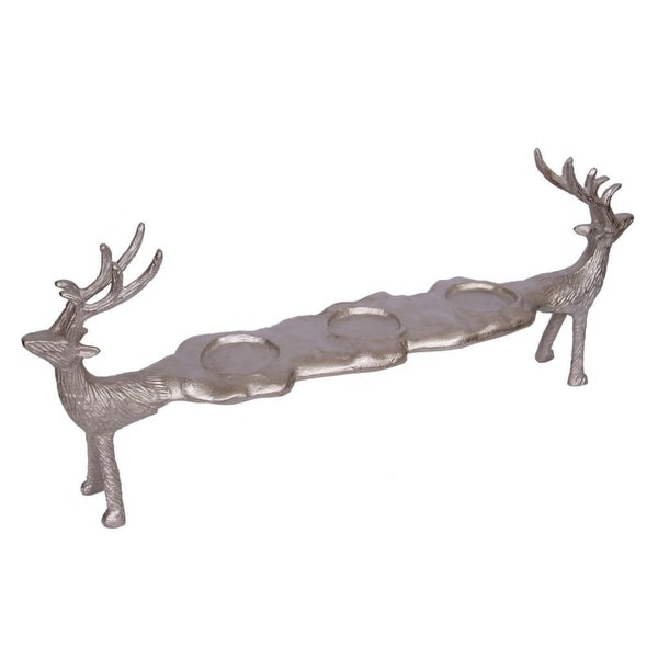 "21"" Bronze Reindeer Three-Light Distressed Votive Candle Holder - N/A"