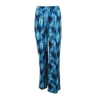 Karen Kane Women's Elastic Waist Wide Leg Jersey Pants - Blue - M