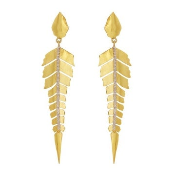 Gold Vermail and Genuine White Diamond Spike Earring