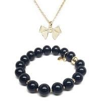 Black Onyx Bracelet & Bow Gold Charm Necklace Set