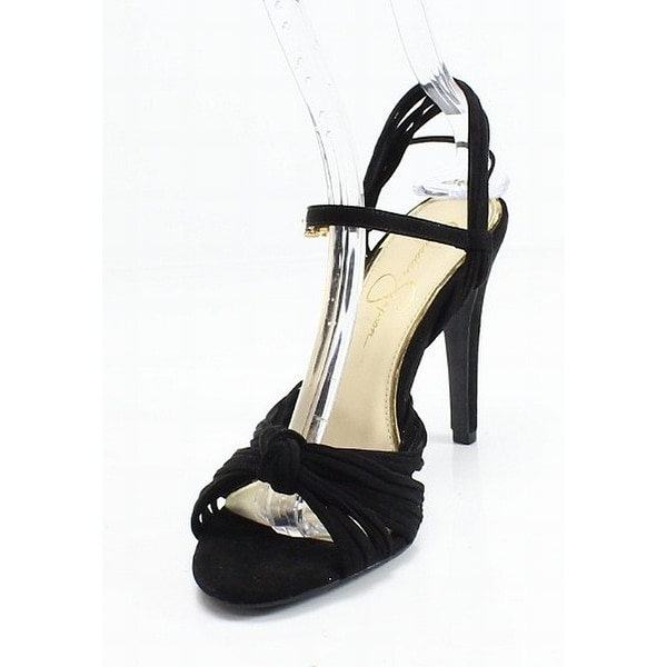 Jessica Simpson Black Strappy Open Toe Stiletto Women's 8.5M Pumps