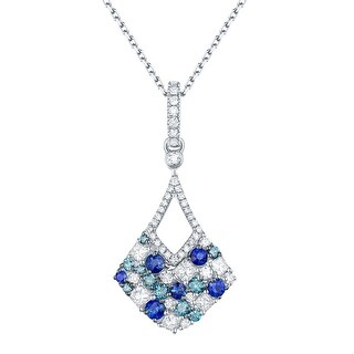 Prism Jewel 0.81CT Blue Sapphire with Blue & Natural Diamond Drop Dangle Pendant with Chain