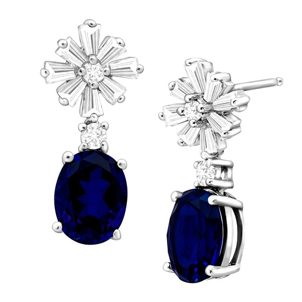6 1/2 ct Created Blue & White Sapphire Starburst Drop Earrings in Sterling Silver