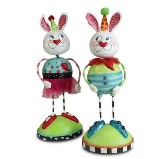 Demdaco Girl and Boy 14 inch Bunny Figures
