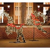 5.75' Giant Commercial Grade LED Lighted Leaping Reindeer Topiary Christmas Outdoor Decoration - green