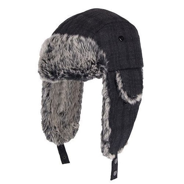 e9bf81614967f2 Shop Dockers Men Wool Blend Plaid Trapper Hat Faux Fur Charcoal - Free  Shipping On Orders Over $45 - Overstock - 18339100