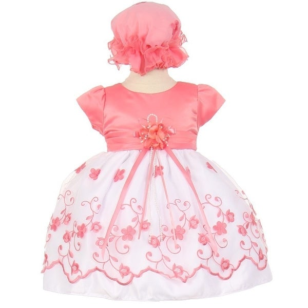Baby Girls Coral Floral Embroidery Overlay Special Occasion Bonnet Dress 6-24M