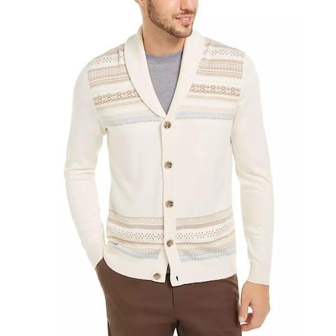 Tasso Elba Men's Geo-Stripe Intarsia-Knit Cardigan White Size Extra Large - X-Large
